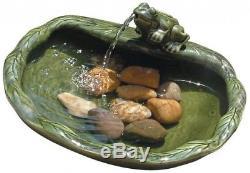 Outdoor Garden Bath Bird Smart Solar Glazed Green Ceramic Solar Frog Fountain