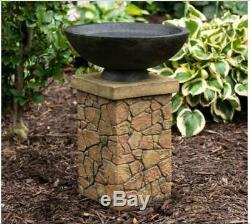 Outdoor Garden Bird Bath Decor Stone Look Basin Modern Zen Birdbath