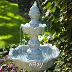 Outdoor Garden Fountain Waterfall Patio Electric Water Pump Yard Decor Bird Bath