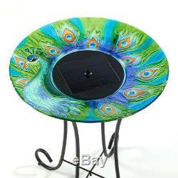 Outdoor Garden Patio Cordless Peacock Glass Solar Bird Bath Fountain Steel Stand
