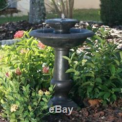 Outdoor Garden Patio Porch On Demand Solar Power 2 Tier Fountain Birdbath