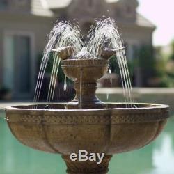 Outdoor Garden Water Fountain Bird Bath Cordless Battery Powered Yard Light Show