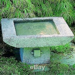 Outdoor Kyoto Birdbath Alpine Stone Handcraft Home Garden Sculpture Patio Statue