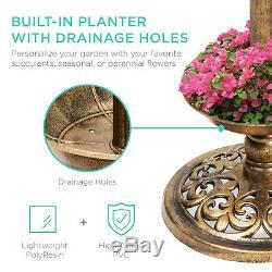 Outdoor Light Bird Bath Fountain Solar LED Garden Planter Pedestal Decor Vintage