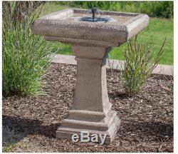 Outdoor Modern Solar Bird Bath Pedestal Stone Finish Greek Patio Decor Garden