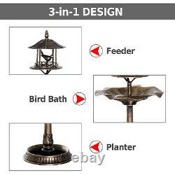 Outdoor Pedestal Bird Bath Garden Décor Feeder Planter 3-in-1 Resin Freestanding