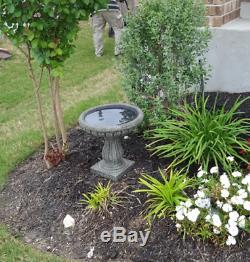 Outdoor Resin Bird Bath Pedestal Antique Garden Water Bowl Stand Yard Feeder