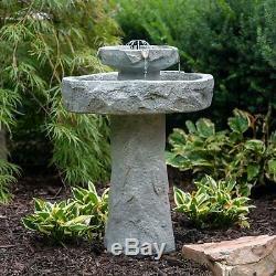 Outdoor Rock Fountain Solar On Demand Stone Patio Garden Decor Spring Bird Bath