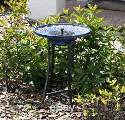 Outdoor Smart Solar Mosaic Ceramic Bird Bath Fountain Garden Yard Home Decor