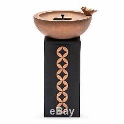 Outdoor Solar Bird Bath Fountain Pedestal Black Copper Finish Bowl Garden Column