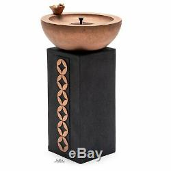 Outdoor Solar Bird Bath Fountain Pedestal Black Copper Finish Bowl Garden Decor