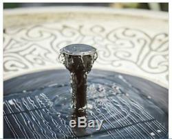 Outdoor Solar BirdBath Fountain Cement Garden Yard Decor Patio Greek Bird Bath