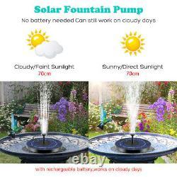 Outdoor Solar Fountain Powered Water Pump Bird Bath Pond Floating Garden Pool US