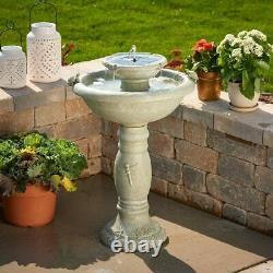 Outdoor Solar Water Fountain 2 Tiered Bird Bath Faux Stone Garden Waterfall