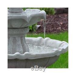Outdoor Solar Water Fountain Birdbath White Color 2 Tier Lawn Garden Yard Decor