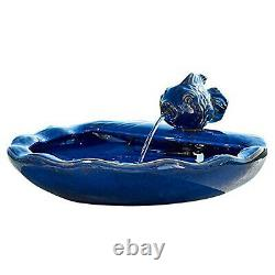 Outdoor Solar Water Fountain Fish Bird Bath Patio Garden Yard Lawn Decor Ceramic