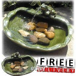 Outdoor Solar Water Fountain Frog Bird Bath Patio Garden Yard Lawn Decor Ceramic