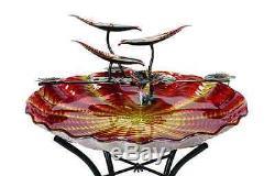 Outdoor Sunset Glass Birdbath Bird Bath Fountain Water Bowl Garden Yard Decor