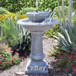 Outdoor Tiered Fountain Solar Bird Bath Cascade Garden Decoration 2-Tier Stone
