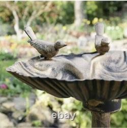 Outdoor Twin Bronze Effect Plastic Bird Bath (bird bath for gardens)