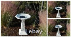Outdoor Water Birdbath Fountain Solar Garden Resin Patio Yard Waterfall Cascade
