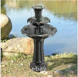 Outdoor Water Fountain 3 Tier Garden Patio Waterfall Bird Bath Cascade with Pump