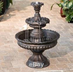 Outdoor Water Fountain 3 Tier Garden Resin Birdbath Yard Patio Lawn Waterfall