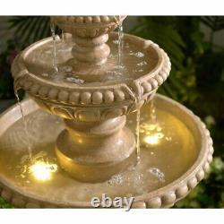 Outdoor Water Fountain 3 Tier Lighted Patio Garden Birdbath Beige Waterfall 4 ft