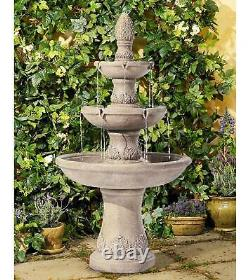 Outdoor Water Fountain 57 Traditional Tan 3-Tiered Cascading for Yard Garden