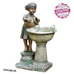 Outdoor Water Fountain Bird Bath Vintage Garden Sweet Girl Figure Birdbath Pump