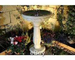 Outdoor Water Fountain Birdbath Pedestal Bowl LED Solar Panel Garden Patio Decor