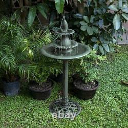Outdoor Water Fountain Electric Garden Birdbath Patio Tiered Waterfall Cascade