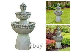 Outdoor Water Fountain Electric Pedestal Garden Birdbath Patio Waterfall Cascade