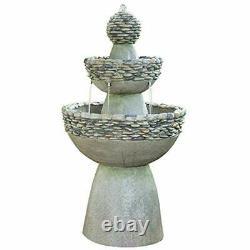 Outdoor Water Fountain, Garden Majestic Zen 3 Tier Stone-Like Finish Waterfall