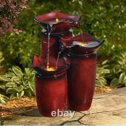 Outdoor Water Fountain Small Lighted Tiered Pots LED Garden Birdbath Waterfall