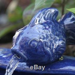 Outdoor Water Fountain Solar Garden Bird Bath Ceramic Backyard Patio Cascade