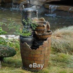 Outdoor Water Fountain Solar Garden Bird Bath Ceramic Frog Backyard Patio New