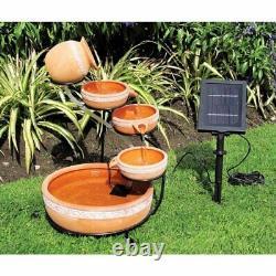 Outdoor Water Fountain Solar Garden Bird Bath Tiered Backyard Waterfall Cascade