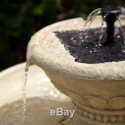 Outdoor Water Fountain Solar-On-Demand Bird Bath 2-Tier Garden Backyard