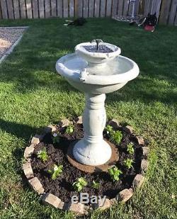 Outdoor Water Fountain Solar-On-Demand Bird Bath 2-Tier Garden Backyard New