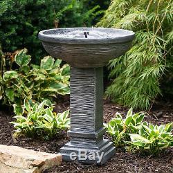 Outdoor Water Fountain Solar Stacked Stone Patio Garden Backyard Decor Bird Bath