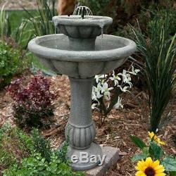 Outdoor Water Fountain Solar on Demand 2 Tier Garden Backyard Patio Birdbath