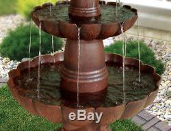 Outdoor Water Fountain Tiered Cascade 32 Tall Bird Bath Bronze Garden Waterfall