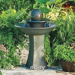 Outdoor Water Fountain Tiered Garden Globe Waterfall Decor Stone Look Birdbath
