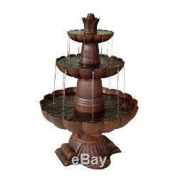 Outdoor Water Fountain Tiered Waterfall Pump Yard Garden Patio Decor Birdbath