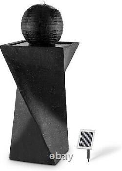 Outdoor Water Fountain Watefall Black Pedestal Birdbath Solar LED Lights Modern