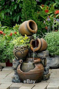 Outdoor Water Fountain Waterfall 3 Pots Birdbath Garden Patio Backyard Electric