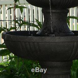 Outdoor Water Fountain Waterfall 3 Tier Birdbath Garden Patio Backyard Electric