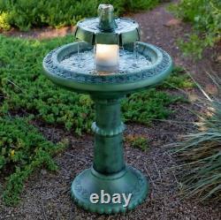 Outdoor Water Fountain with Light Pedestal Bird Bath Garden Lighted Waterfall