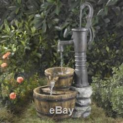 Outdoor Water Pump Half Whiskey Barrel Fountain Garden Yard Bird Bath Home Decor